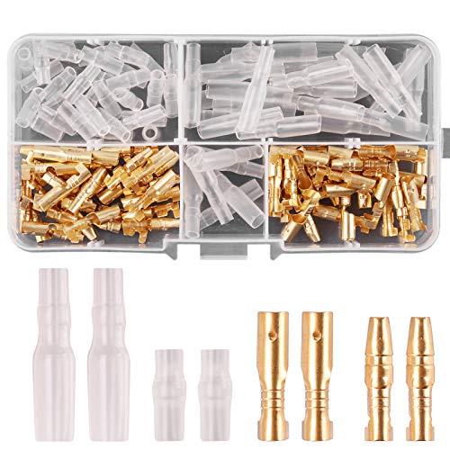 Rantecks 120 STÜCKE 3,9mm Rundsteckverbinder Kit Gold Bullet Male & Female Drahtanschlüsse Stecker mit Isolationsabdeckung für Motorrad Motorrad Auto Boote Elektrische Instrumente