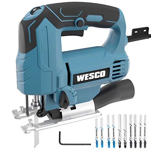 Jigsaw, WESCO 4.5A Electric Jig Saw 0-3000 SPM Variable Speed, 4 Orbital Sets, ±45°Bevel Cutting Angle,10PCS Blades for Wood Metal PVC Ceramic Cutting/WS3770U