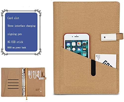 LIUDOU Notebook with Charging Treasure Multifunctional Mobile Power Notepad Business Meeting Record USB Flash Drive Electronic A5 Loose Leaf,Brass