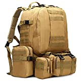 Mochila táctica Impermeable 4 en 1 Mochila Militar de Camuflaje Ejército para Acampar Senderismo Mochila Bolsas al Aire Libre 50L