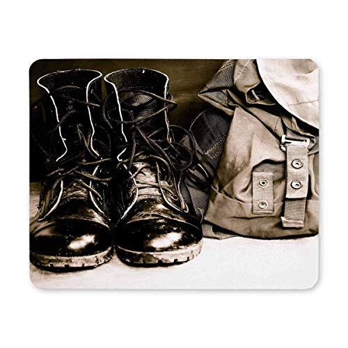 Cool Black Leather Army Boots and Army Bag Soldier Rectangle Non Slip Rubber Mouse Pad Gaming Mousepad Mat for Office Home Woman Man Employee Boss Work