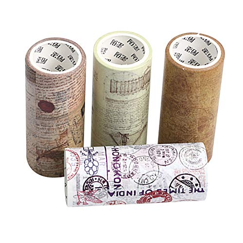 JDGS 4 Pz 10 Cm * 5 M Nuovo Elegante Fai da Te Adesivo Adesivo Stile Vintage Washi Tape Diario Scrapbook Masking Paper Decorativo Scuola di Stoccaggio