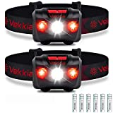 Vekkia Ultra Bright LED Headlamp Flashlight (2 Pack), White and Red Light Headlight with Adjustable Headband, IPX6 Water Resistant. Great for Outdoors, Running, Camping. 3 x AAA Batteries Included