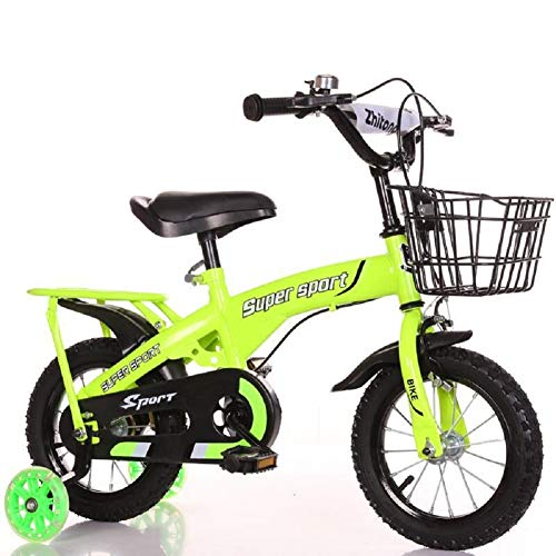 "New Boy's Girl's Kids Children Child Bike Bicycle 4 Colours, 12"", 14"", 16"", 18"" with Backseat, Water Bottle and Basket (Green with Backseat, 18 inch)"