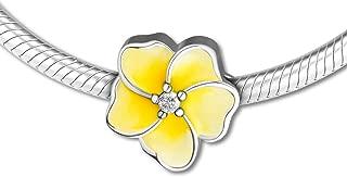 Charm 925 Sterling Silver Bead Fit Pandora Bracelet Gradient Yellow Plumeria Charm Women DIY Jewelry Gift