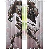 YUAZHOQI - Cortina de ventana con diseño de oso mitológico, diseño de elfo y oso enojado, diseño...