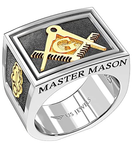 US Jewels And Gems Men's Two-Tone Master Mason 0.925 Sterling Silver and 14k Yellow Gold Freemason Masonic Ring Size 11