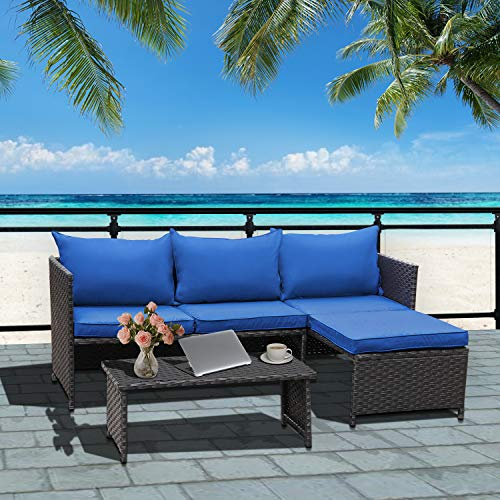Valita 3-Piece Outdoor PE Rattan Furniture Set Patio Wicker Conversation Loveseat Sofa Sectional Couch Royal Blue Cushion
