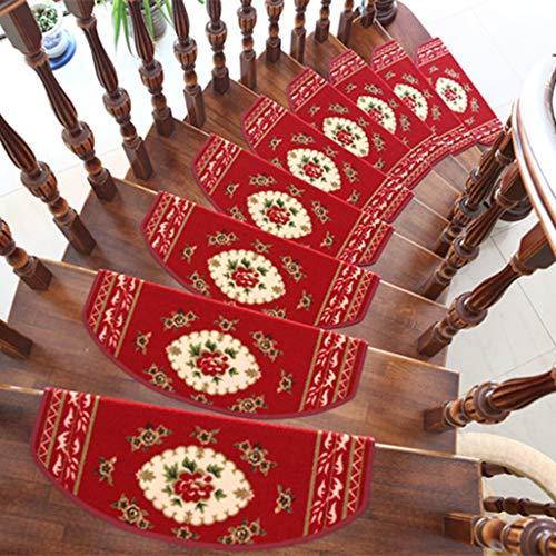 Alfombras de Escalera para Interiores Stair Treads Conjunto de 15 huella de peldaño Mats, autoadhesivo no Slip escalera cojines de alfombras, conveniente for el hogar Decoración Escalera (Tamaño: 65cm