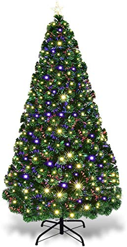 Goplus 7FT Artificial Christmas Tree Pre-Lit Optical Fiber Tree 8 Flash Modes W/ UL Certified Warm White Electrodeless LED Lights & Metal Stand