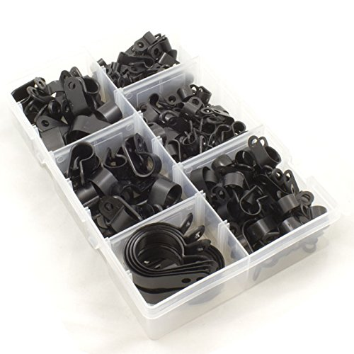 En nylon en plastique noir P Pinces pour fil, câble, tuyaux. Boîte de 200 pièces assorties