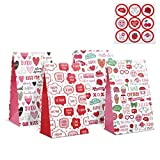 Kesote 12 Bolsas de Regalo Bolsas de Papel para Bodas el Día de San Valentín Fiestas con Pegatinas para Obsequio Envoltorio de Regalo