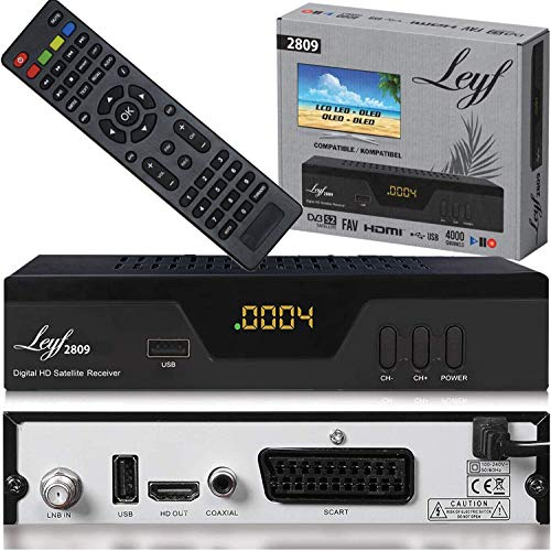 Leyf 2809 Digital Satellite Satellite Receiver (HDTV, DVB-S/S2, HDMI, SCART, 2X USB 2.0, Full HD 1080p) [Pre-Programmed for Astra Hotbird Türksat]