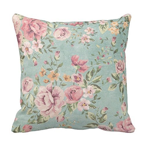 MARCOMAX Vintage Shabby Chic Floral Teal Pink Girly Elegant Home Pillow Case