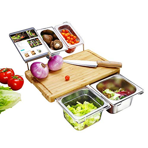 AQSMART Bamboo Cutting Board with Containers - Prep Tools for Chopping Meat Vegetables - Made from Natural Wood - 3 Ingredient Holders 1 Waste Bin 1 Tray for Tablet Phone Storage Juice Catcher