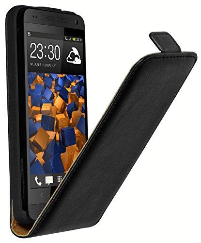 mumbi Echt Leder Flip Case kompatibel mit HTC One Mini Hülle Leder Tasche Case Wallet, schwarz