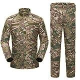 COZYJIA Traje de Camisa y pantalón Airsoft, Camuflaje Combate BDU para Hombre Camisa y pantalón de Uniforme Multibolsillo con Sombrero para Juego de Guerra Ejército Militar Paintball Caza de Caza