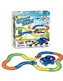 LED Glow Track EN The Dark Bend, Flex Car Race Fun Gift Set con Multi Track