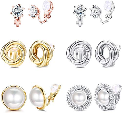 Adramata 6 Pairs Clip On Earring for Women CZ Freshwater Pearl Twist Knot Non Pierced Clip On Earrings Set Silver-Tone Rose Gold