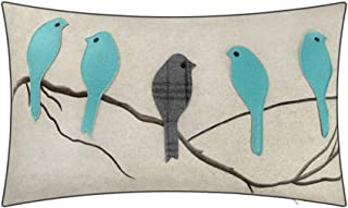 JWH Birds Accent Pillow Case Applique Hand Emobroidery Cushion Cover Wool Decorative Pillowcase Home Sofa Car Bed Living Room Decor Sham Gift 14 x 24 Inch Teal Blue with Gray Plaid Birds on Branch