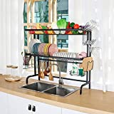 X-cosrack Over the Sink Dish Drying Rack,2-tier Dish Drainers Storage for Kitchen Counter with Utensil Holder, Cup Holder, Stainless Steel,Black