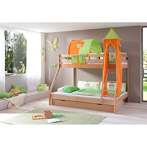 Relita Etagenbett Mike inkl. Bettschubladen und 3 TLG. Textils.grün/orange,Buche massiv Natur lackiert