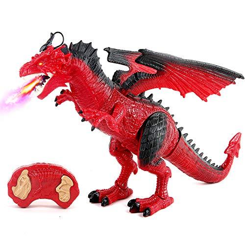 Remote Control Dinosaur, Red Dinosaur Figures Realistic Looking with Roaring Spraying Light Up Eyes,RC Walking Dragon Toy for Kids Boys Girls Birthday Gifts