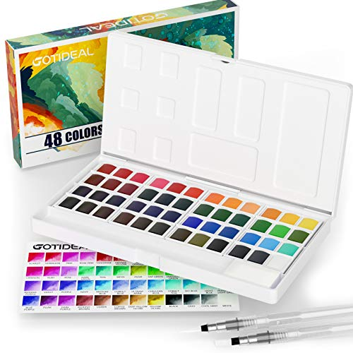 GOTIDEAL Watercolor Paint Set,48 Vivid Colors in Pocket Box, with 2 Bonus Refillable Water Blending Brush Pens,Rich Pigment Perfect for Artist, Students, Kids, Beginners & More-Portable with Palette