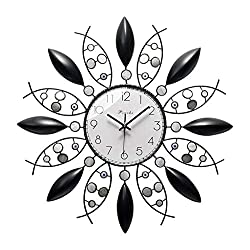 Wall Clock 25 Inch Handmade Iron Metal Combined Artwork of Deep Sea Shells Battery-Driven Silent Operation, No Ticking, Suitable for Living Room Bedroom Decoration