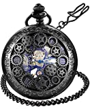 LYMFHCH Steampunk Blue Hands Scale Mechanical Skeleton Pocket Watch with Chain Mens Womens Watch Christmas Graduation Birthday Gifts Fathers Day