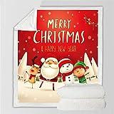 XCMMK La tela escocesa del lecho de la manta de lana de cordero de doble capa 3D es ligera y cómoda Dibujos animados navidad viejo muñeco de nieve Pequeño 100x150 cm (39.3x59 pulgadas) Regalos de vaca
