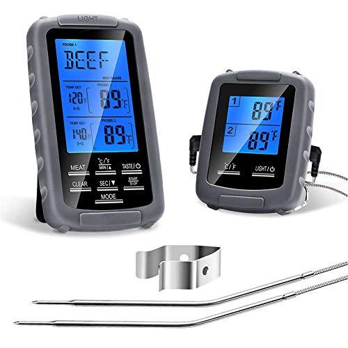 Fleischthermometer, Grillthermometer Digitales Bratenthermometer BBQ Ofenthermometer Wireless ℃/℉ Einstellbar Blaue Hinterbeleuchtung LCD Sofortiges Auslesen mit 2 Sondenmit bis 300°C