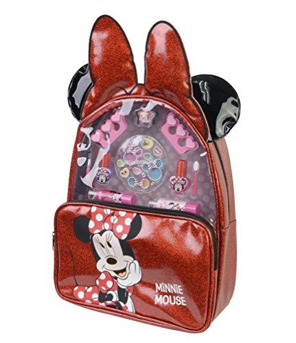 Minnie Mouse Rucksack mit verschiedenen Lippenstiften und Nagellackfarben, Cremelidschatten, Zehentrenner und Applicator zum Auftragen