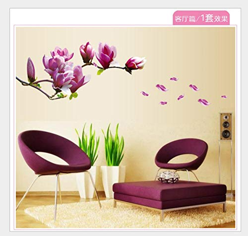 Wall Stickers Living Room Tv Sofa Chinese Style Background Wall Dining Room Bedroom Bedside Background Decorative Wall Sticker Magnolia Flower 50*70Cm
