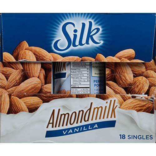 Silk Shelf-Stable Almond Milk Singles, Vanilla, Dairy-Free, Vegan, Non-GMO Project Verified, 8 Fl Oz (Pack of 18)