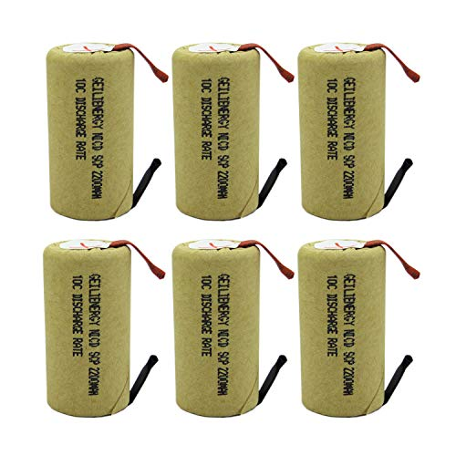 GEILIENERGY 2200mAh Sub C NiCd Battery 10C Discharge Ratefor Power Tools, 1.2V Flat Top Rechargeable Sub-C Cell Batteries with Tabs(Pack of 6)