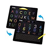 PicassoTiles 2-in-1 Double Sided Magnetic Drawing Board ABC A-Z Letter, Number, and Freestyle Writing Playboard 12x10 inch Large Magnet Tablet Pad Open-Ended Learning Erasable Reusable Playset PTB02