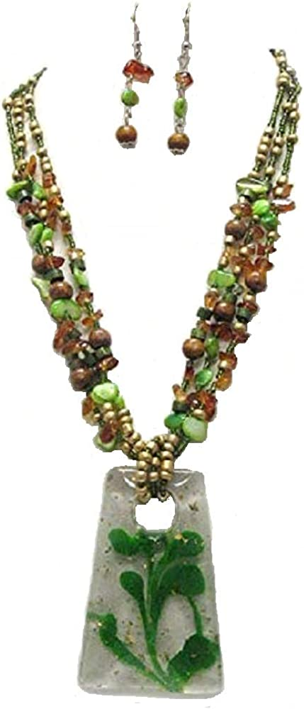 Rose's Gift Store~Fashion Jewelry Green Layered Chipped Stone Necklace and Earring Set