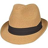 Maylisacc Sombrero Trilby Hombre Verano, Sombrero de Verano Mujer de Paja Ajustable Sombreros Panamá de ala Corta Plegable Ligero Protección UV, Caqui