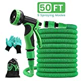 PATHONOR 15m Extendable Garden Hose High Pressure Resistant 3 Layer Latex Retractable Hose with 9 Function Spray Gun for Gardening Car Wash Bathing Animal