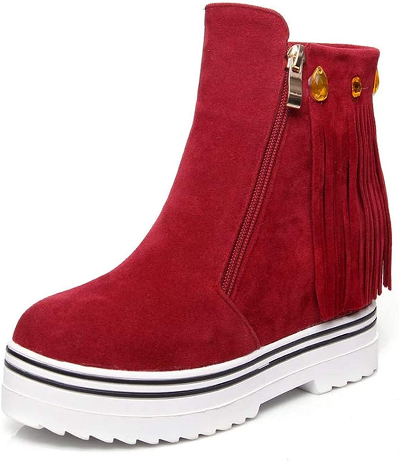 T-JULY Women's PU Soft Leather Restoring Ankle Boots Wedges High Heels Round Toe Platform Black Red Boots Plus Size