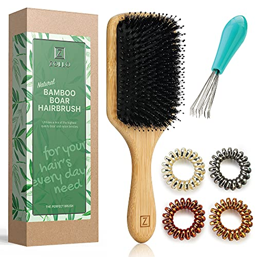 Natural Boar Bristle Hair Brush for Women, Men, Kids; Paddle, Dry and Wet Detangling Hair Brush Gently Enhances Shine, Smooths Frizz and Prevents Breakage in Fine and Straight, Thick and Curly Hair