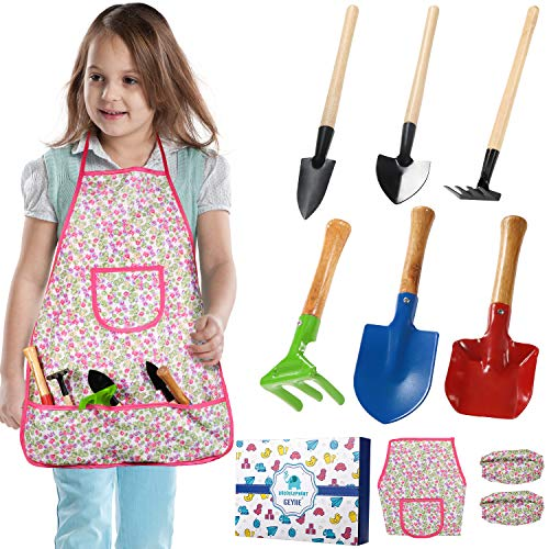 GeyiieTOYS Kinder Gartenwerkzeug Set, Draussen Garten Gartenspielzeug Sandspielzeug mit Kinder Rechen, Schaufel und Kelle, Schürze, Ärmel für Jungen / Mädchen / Kleinkinder