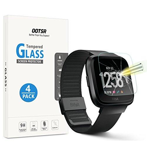 OOTSR (4 Piezas) Protector de Pantalla para Fitbit Versa Cristal Templado para Fitbit Versa [Alta definición] [Resistente a los arañazos]