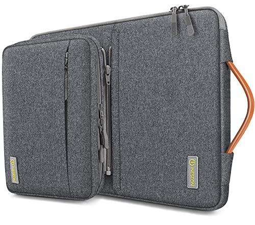 iNeseon 14 Pulgadas Funda Ordenador Portátil para 14'' Acer ASUS DELL HP Lenovo Huawei Chromebook Ultrabook, Funda Blanda Protectora con Bolsa de Accesorios Desmontable y Asa, Gris Oscuro