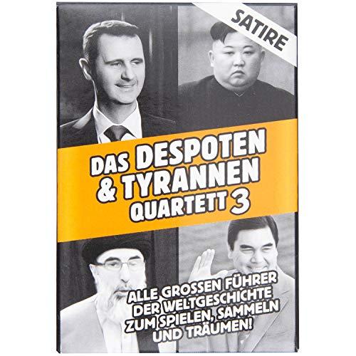 GOODS+GADGETS Tyrannen & Despoten Quartett - Das Diktatoren Kartenspiel die 32 übelsten Führer der Geschichte auf Spielkarten (Orange Edition)