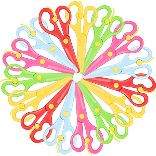 15 Pieces Preschool Training Scissors Plastic Scissors Anti-pinch Safety Scissors for Children Art Craft Supplies
