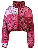 Tanming Women's Winter Warm Bandana Print Puffer Cropped Jacket Bubble Short Coat(Red-S)