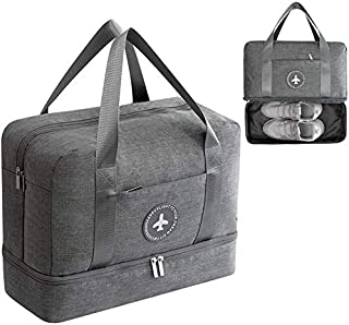 Double Layer Travel Duffle Bag,HOME-MART Unisex's Lightweight Waterproof Foldable Gym Bag Shoes Compartment Shoulder Bag T...