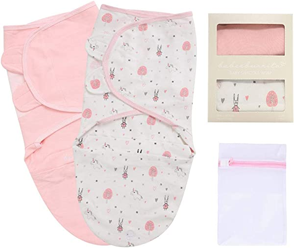 BABEEBURRITO Baby Swaddle Blankets Adjustable Wrap Swaddles Easy Diaper Change Pocket 100 Cotton 2 Pk 0 3months 7 14lbs Pink